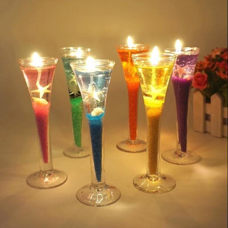 Románticas velas perfumadas hechas a mano, conjunto de cera de gelatina duradera no tóxica + Concha + arena + vaso de cristal alto + mecha de vela