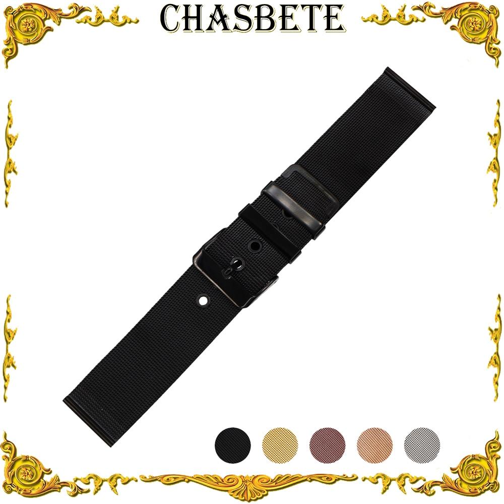 Correa de reloj milanesa de acero inoxidable de 20mm y 22mm para Cartier, correa de reloj para hombre y mujer, correa de Metal, pulsera de lazo para muñeca, negra y plateada