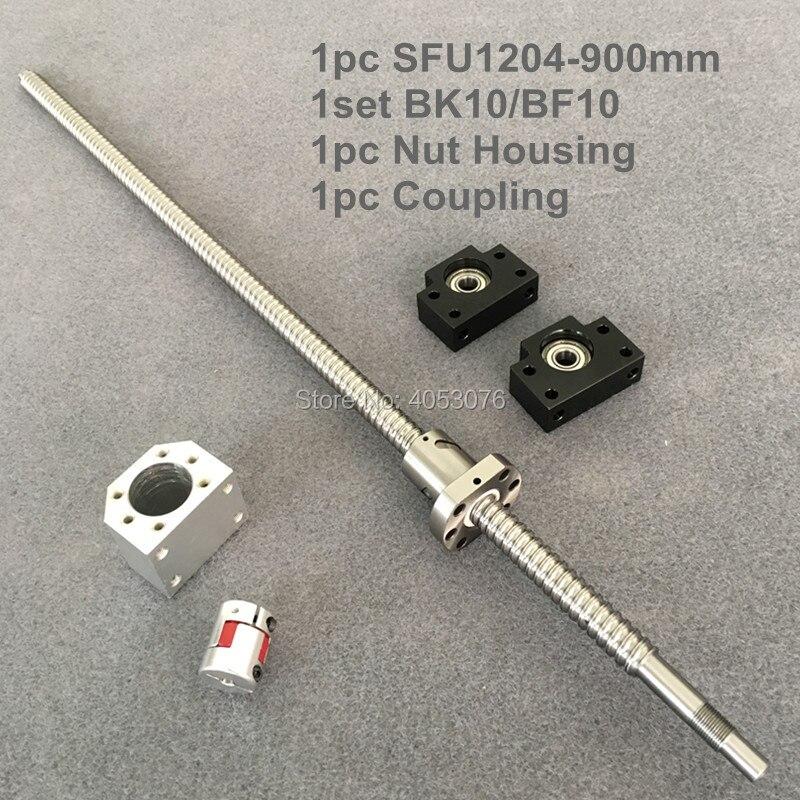 Tornillo de bola SFU/RM 1204-900mm con extremo mecanizado + husillo de bolas 1204 + soporte de extremo BK10/BF10 + carcasa de tuerca + acoplamiento para piezas CNC