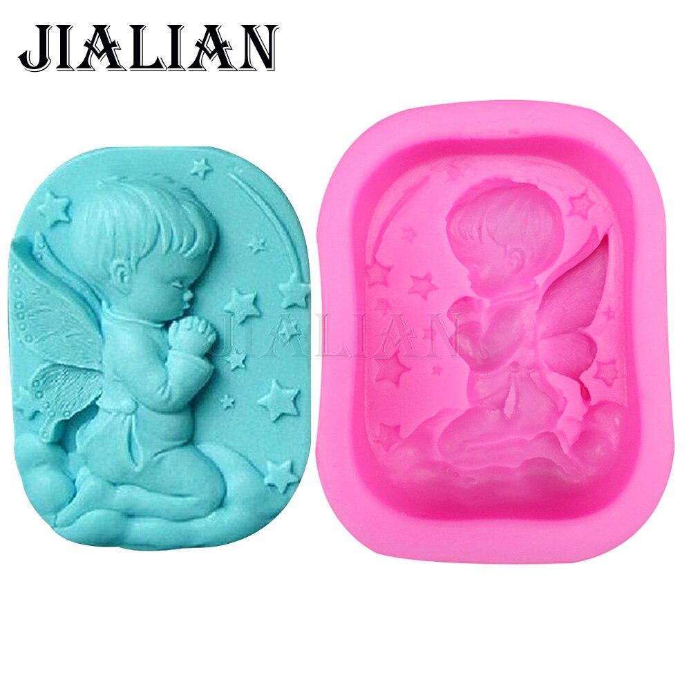 3D детский Ангел молитва звезды мыло Плесень украшения торта инструменты DIY выпечки помадные силиконовые формы высокое качество T0340
