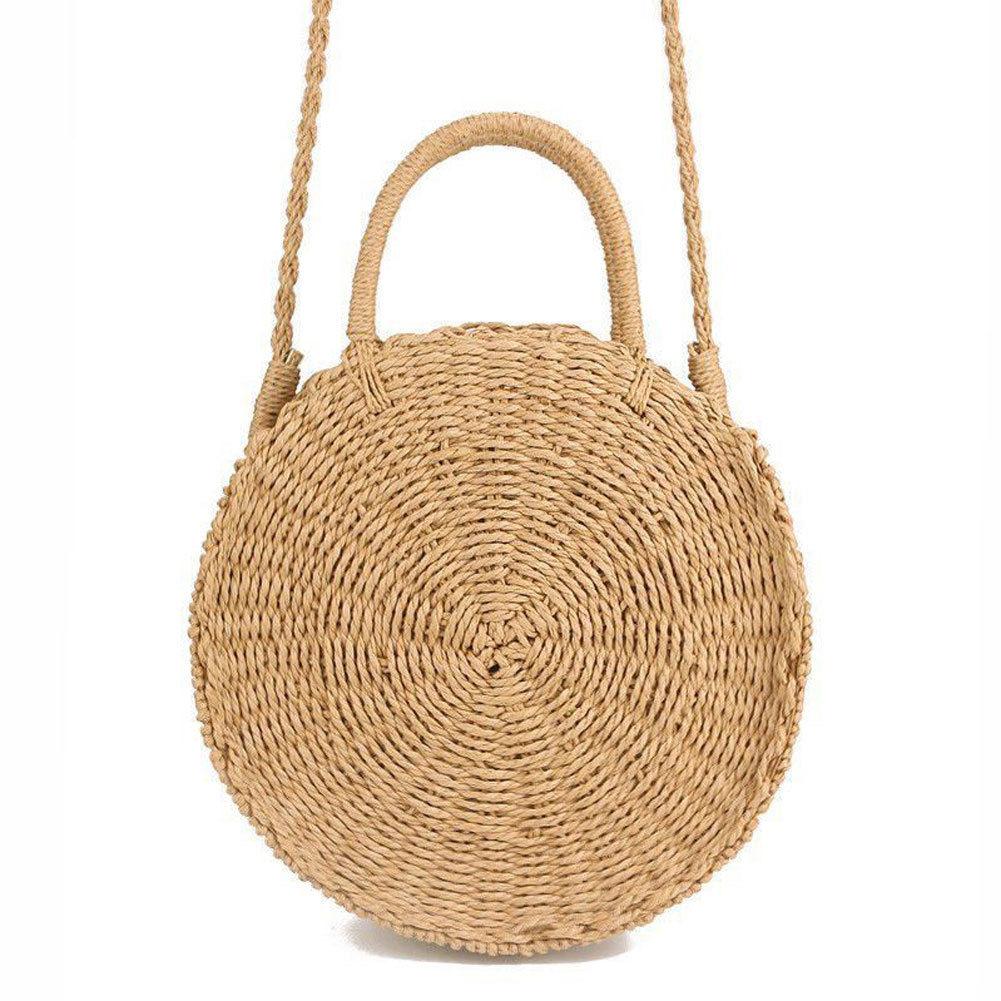 Women Woven Round Rattan Straw Bag Bali Bohemian Beach Circle Bag Circular Handbag Summer Handmade Retro Knitted Messenger Bags