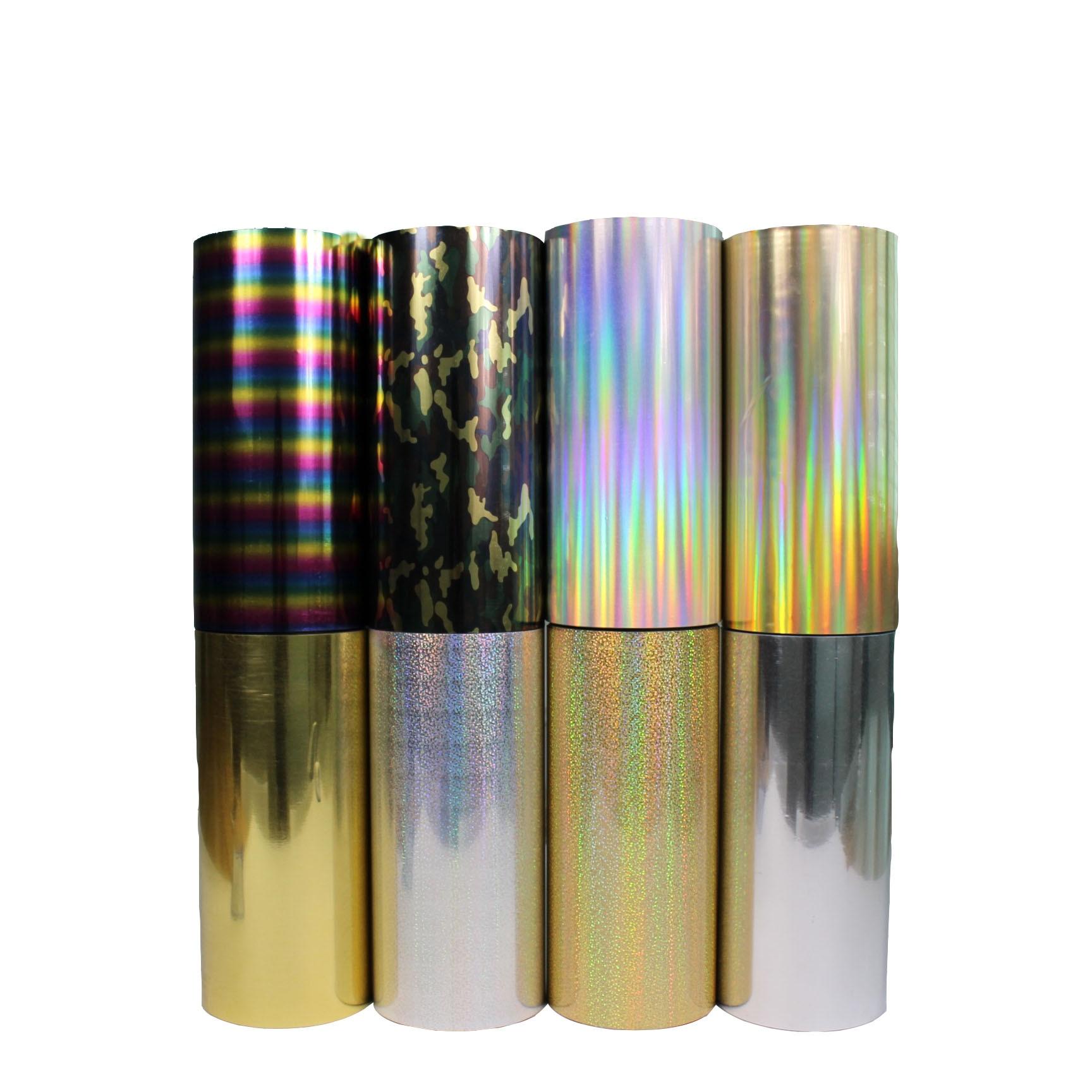 Envío gratis 1 rollo 25cm x 25m holograma Transferencia de Calor vinilo camuflaje Arco Iris metálico y láser de hierro en la película HTV camiseta