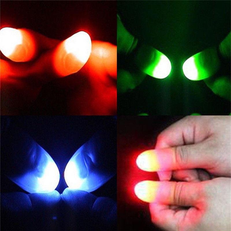 2pcs/set Magic Thumbs Light Toys for Adult Magic Trick Props Blue Light Led Flashing Fingers Hallowe