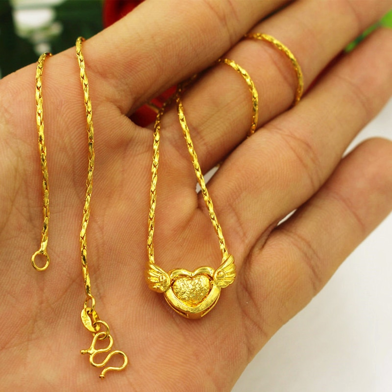 Collares colgantes rellenos de oro de 24K para mujer, collar con corazón volador de color dorado puro para mujer, joyería de boda para mujer