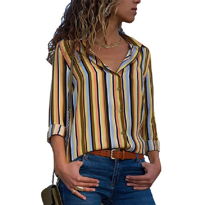 2019 Women Blouses 3XL Summer Long Sleeve Lapel Print Shirt Office Chiffon Blouse Shirts Casual Striped Tops Plus Size Blusas