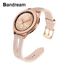 Bracelet en cuir véritable pour montre Samsung Galaxy 42mm/actif/actif 2 40mm 44mm femmes bande en or Rose boucle en acier