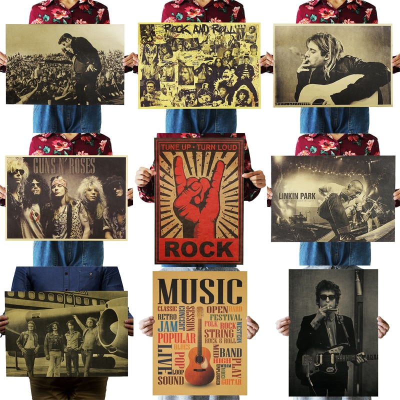 DLKKLB Nostalgic Rock Band Kraft Paper Music Cafe Bar Poster Retro Poster Decor Painting 51x36cm Rock Is Not Dead Wall Sticker