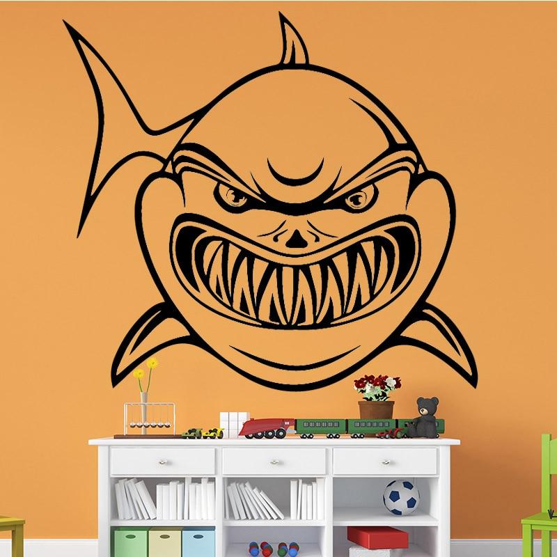 Adhesivos de pared de tiburón feroz, pegatina de pared moderna de moda, accesorios de decoración para el hogar para niños, calcomanía de arte de pared de fondo de sala de estar