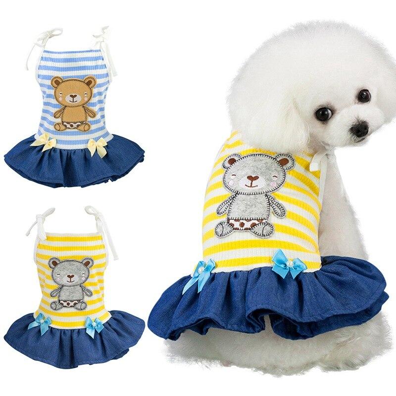 Одежда для домашних животных; Сезон весна-лето; Полосатая юбка на бретельках для собак; Платье без рукавов с принтом медведя для маленьких собак; Одежда для чихуахуа; Одежда для йоркширов
