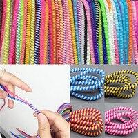 10 шт./лот Спиральный USB кабель для передачи данных 50 см шнур протектор обмотка кабеля DIY Winder для iPhone 5 6 6S 7 8 Plus Samsung HTC
