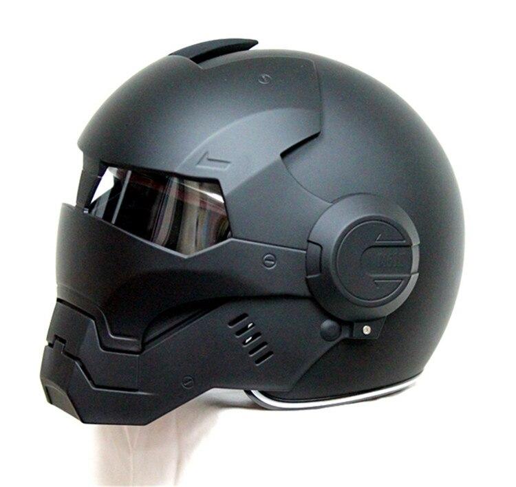 MASEI-خوذة دراجة نارية iron man 610 ، وجه مفتوح ، شخصية ، سباق ، أسود لامع