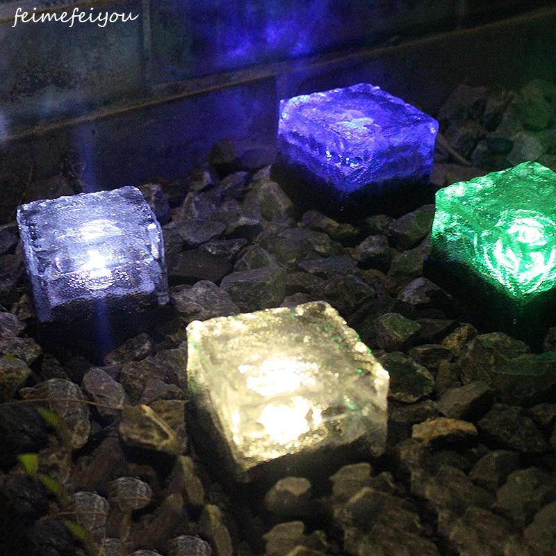 Solar Ice Tile Lights Glass Buried Lights LED Floor Lights Outdoor Solar Decorative Lights