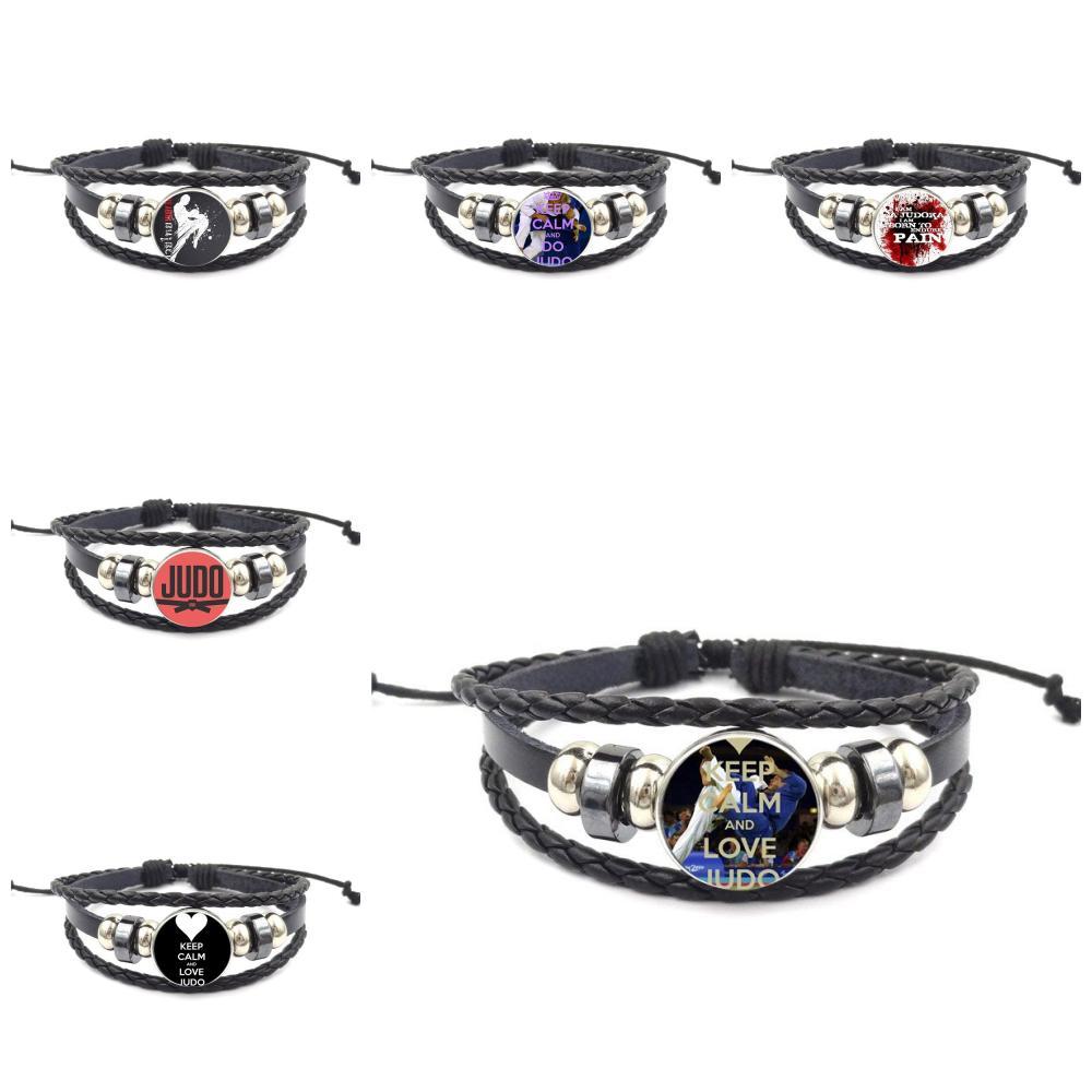 Judo Karate sports Glass Cabochon Newest Jewelry Vintage Statement Black Leather Bracelet Bangle For Women Men