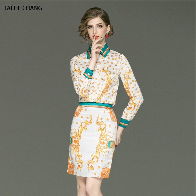 women autumn elegant office work slim bodycon casual print party runway  long sleeve shirt top + mini skirt 2 pieces sets