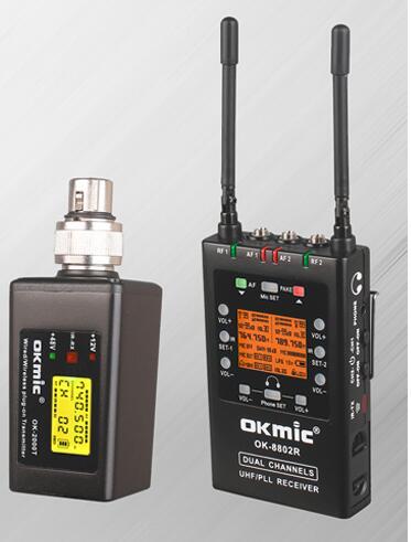 OKMIC OK-8802R entrevista de OK-3000T buen socio Boom micrófono profesional UHF inalámbrico plug on transmisor sistema
