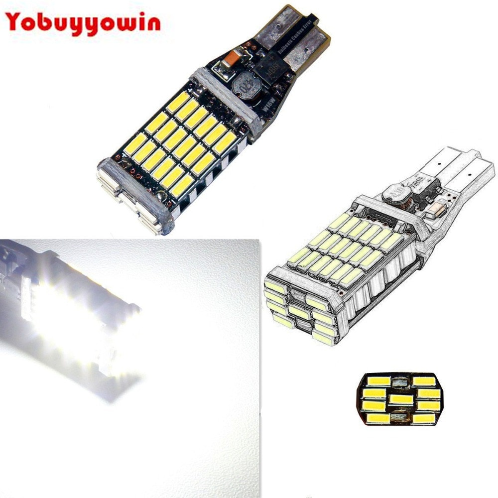 1000 lúmens canbus erro livre 2 x 45-bt chipsets 921 912 w16w lâmpadas led para luzes de backup, branco 6000 k