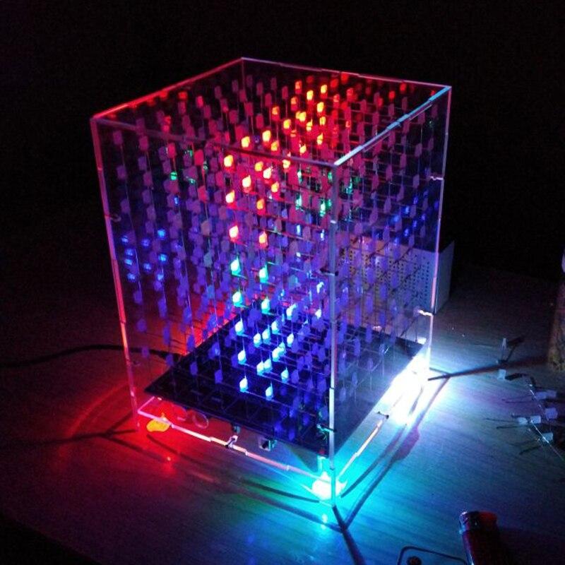 Cubos de luz coloridos DIY Kit 8X8X8 WIFI teléfono móvil aplicación cambiar palabra 888 LED intermitente inteligente producción electrónica piezas regalo 3D