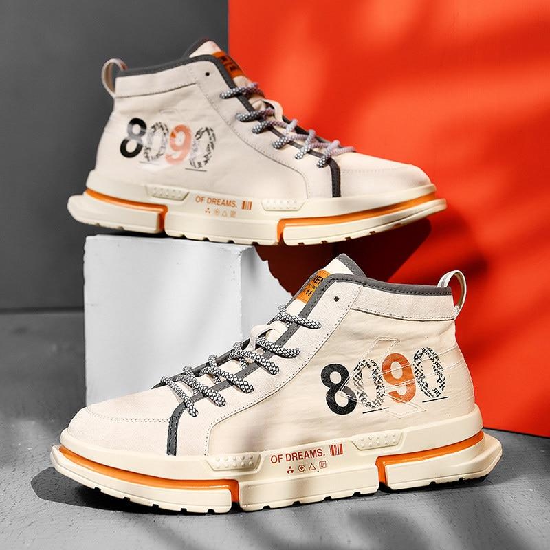 Estilo de rua homem sinal de alta superior sapatos de skate novos homens tênis plissado plana calçado sapato zapatos hombre preto/branco