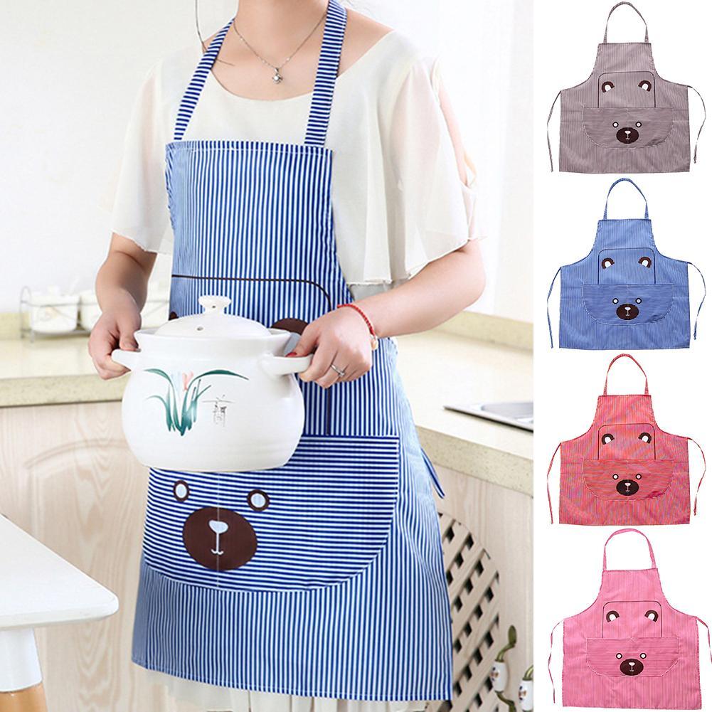 Bonito diseño de oso, delantales sin mangas, delantal de cocina para restaurante, funda con delantales con bolsillos