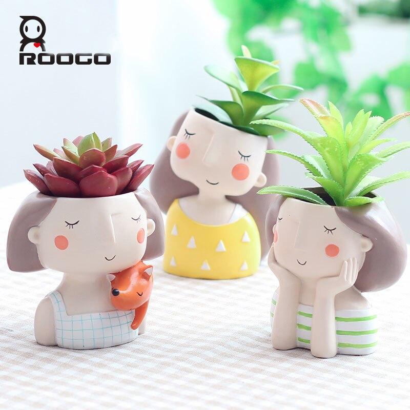 Roogo Cute Girl Flower Pots Planters For Succulents Small Plant Pot For Home Garden Decoration Accessories Mini Bonsai Pot