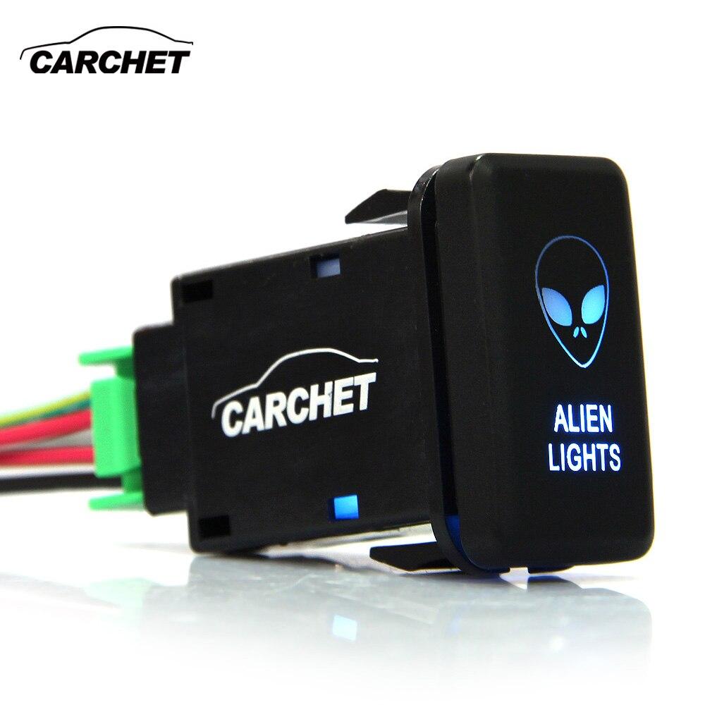 CARCHET 12 V-24 V interruptor basculante SPST botón pulsador dos luces azul para Toyota DIY Alien coche Auto para botón Toyota interruptor de luz