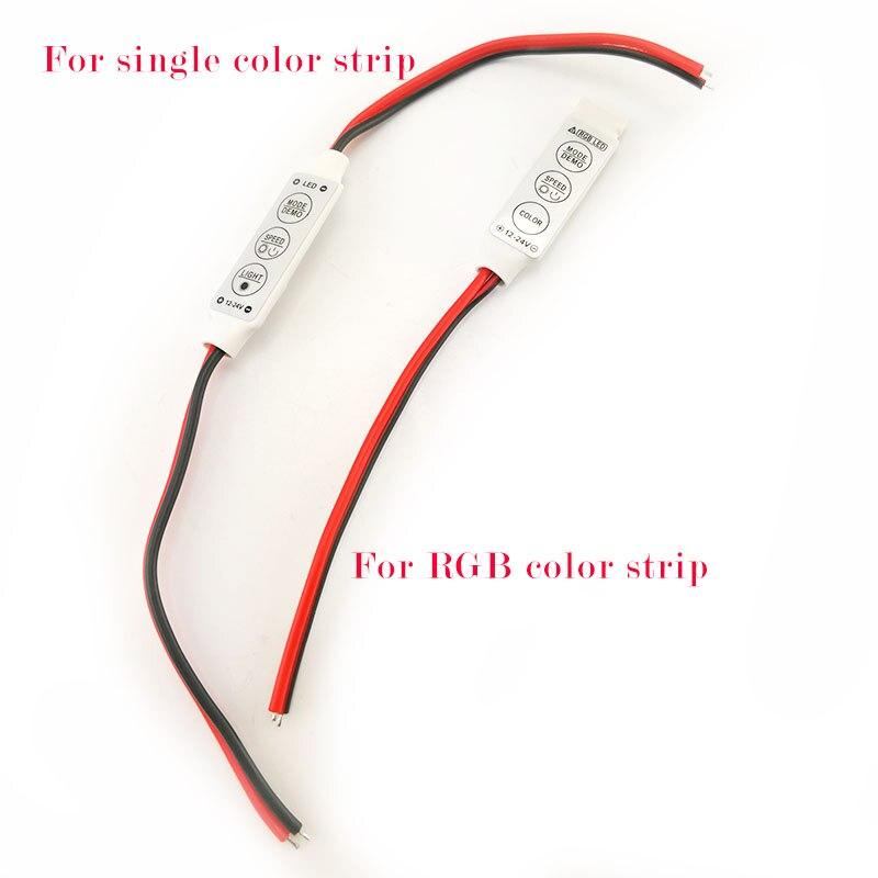 Controlador de 3 teclas DC 12V Mini tira LED RGB de un solo Color para SMD 3528/5050/5730/5630/3014 tira de luces LED DC 12V