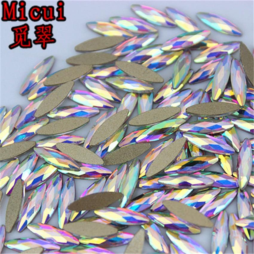 Micui 50 Uds 3*11mm Ojo de caballo AB cristal transparente diamantes de imitación con parte posterior plana pegamento en decoración 3D para uñas no Hotfix ZZ15C