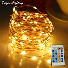 Télécommande LED chaîne fée lumières fil de cuivre lumières de noël guirlande arbre décoration de la maison intérieur et extérieur