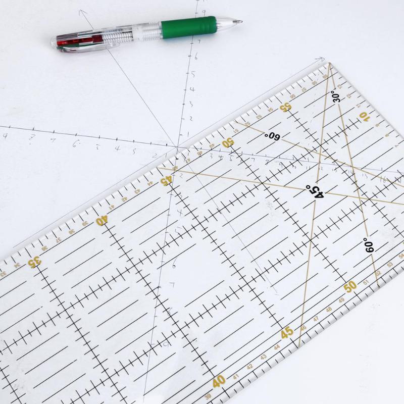 Regla de Patchwork de 15x60cm reglas de tela acrílicas transparentes DIY regla de tela hecha a mano regla de costura reglas para dibujo 2018