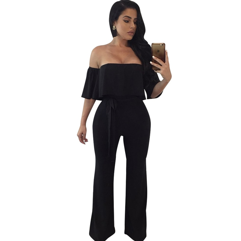 New hot women's jumpsuit sexy strapless tube top black jumpsuit