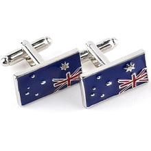 Drapeau australien boutons de manchette hommes argent plaqué bouton de manchette mode bleu chemise boutons de manchette chemise émail boutons de manchette australien patriot
