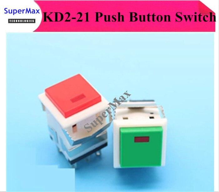 50 piezas/KD2-21 rojo-verde 8 pies iluminado auto-bloqueo botón interruptor