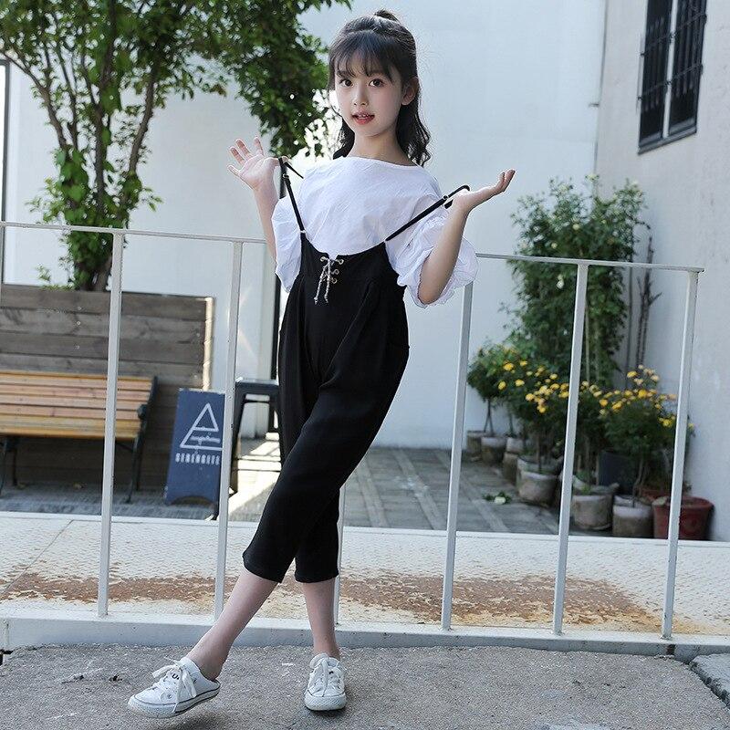 2018 Fashion Kids Girls Clothes Summer Girls Chiffon T- Shirt +Cotton Pants 2PCS  Children Clothing Set For 4 6 8 10 12 14 Years