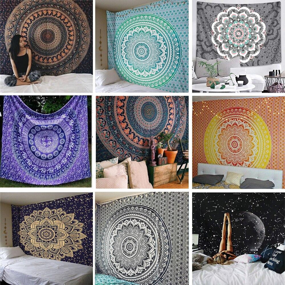 Mandala India tapiz colgante de pared decoración de pared tapices Hippie noche Luna tapiz de Mandala Alfombra de pared