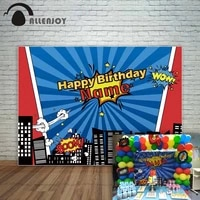 allenjoy new photography backdrop city buildings cartoon superheroes party birthday children background photocall photography