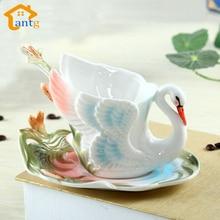 Tasse à café cygne en porcelaine couleur émail   Tasse avec soucoupes et cuillères à café de vacances, cadeau créatif de mariage, livraison gratuite