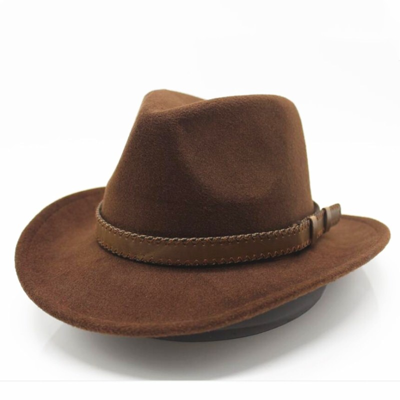 Seioum Women's Men's Wool Hollow Western Cowboy Hat With Fashion Belt Size Gentleman Lady Jazz Cowgi