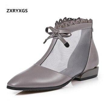 Сандалии женские из воловьей кожи, дышащие босоножки с бантом, Повседневная нескользящая обувь в стиле ретро, большие размеры, лето 2020