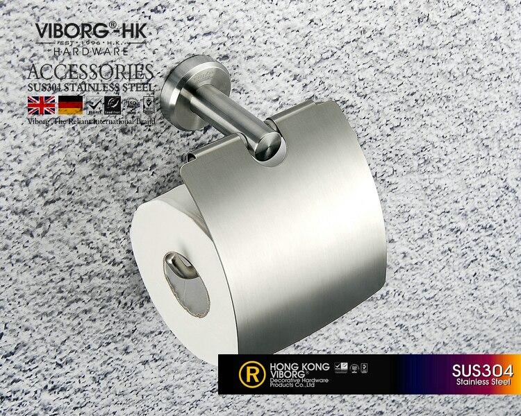 Soporte de papel higiénico para rollo de papel higiénico, cepillado, montaje en pared de acero inoxidable VIBORG Deluxe SUS304