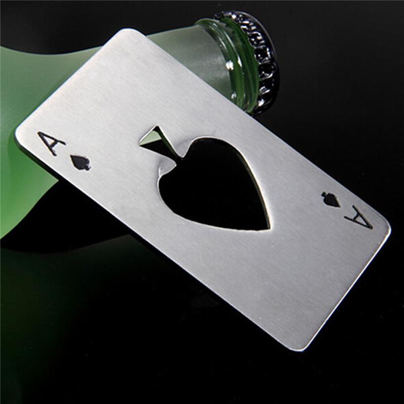 Abrebotellas de acero inoxidable con forma de póker, Abrelatas creativo, abridor de...