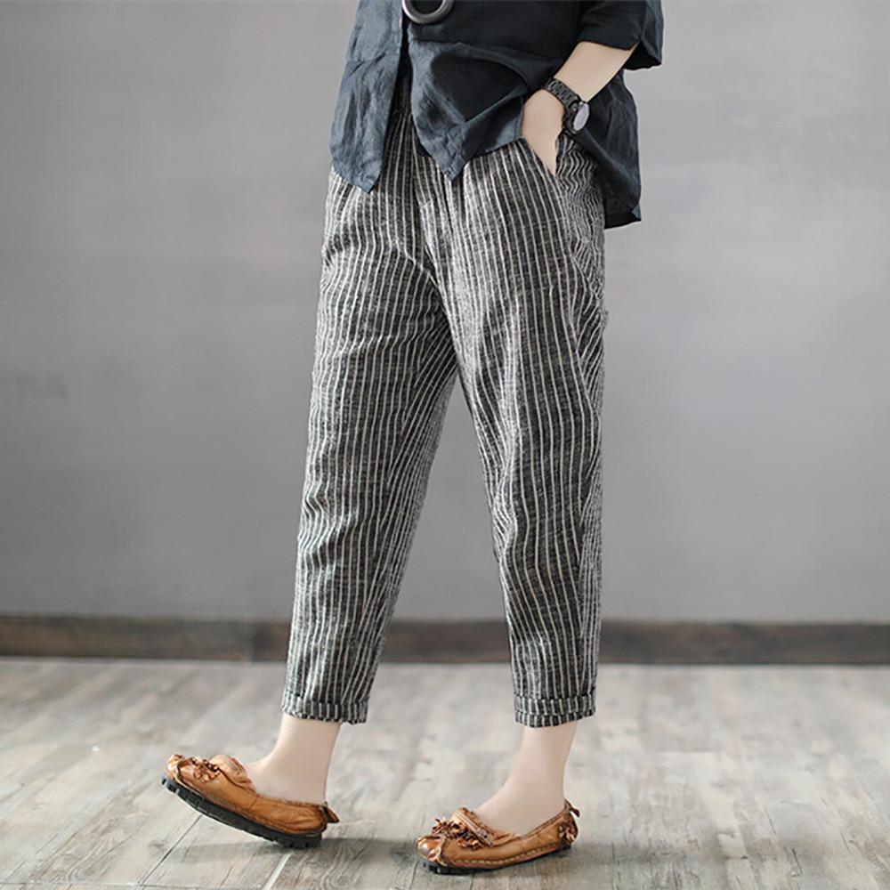 Nuevos pantalones de tubo de verano y otoño para mujer, pantalones de corte a la altura del tobillo, pantalones casuales a rayas a media cintura, pantalones casuales para mujer