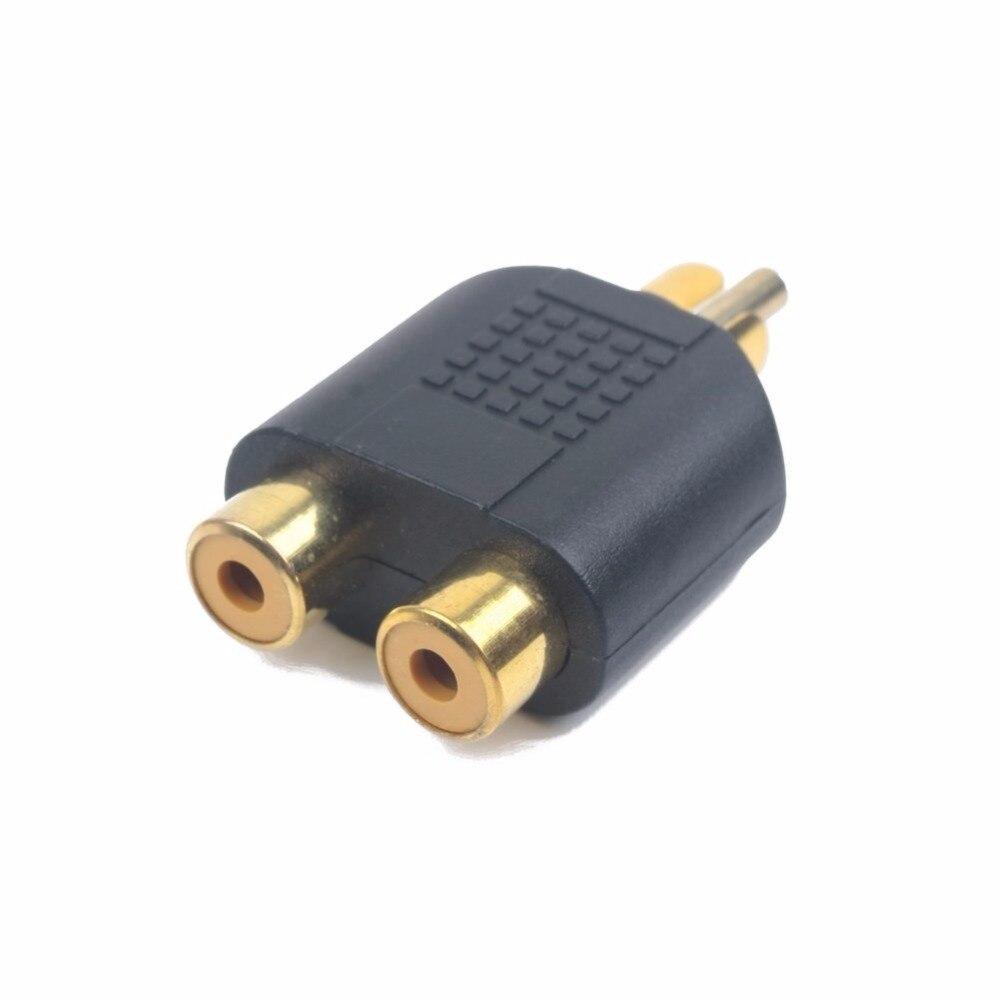محول RCA مطلي بالذهب ، 100 قطعة ، مقبس الصوت Y ، 1 ذكر إلى 2 أنثى