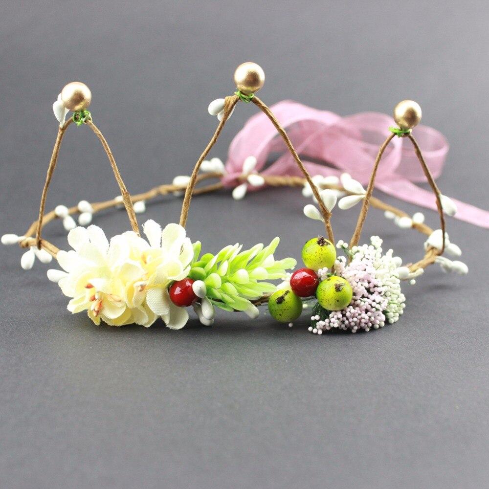 Diademas de flores de bayas de corona Floral de jardín de hadas bohemias para corona Floral de boda de niñas accesorios para el cabello 12 Uds