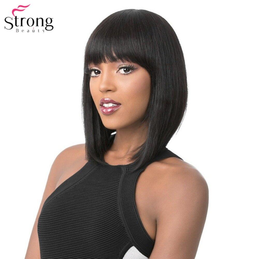 StrongBeauty frauen Perücken Ordentlich Bang Bob Stil Kurze Gerade Haar Schwarz/Blonde Synthetische Volle Perücke 6 Farbe
