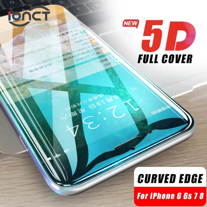 iONCT 5D borde curvado protector de cristal templado para el iPhone 7 6s 8 6 plus X XR XS 11 Pro MAX vidrio 9H protector pantalla iphone 6 7 8 Cubierta completa