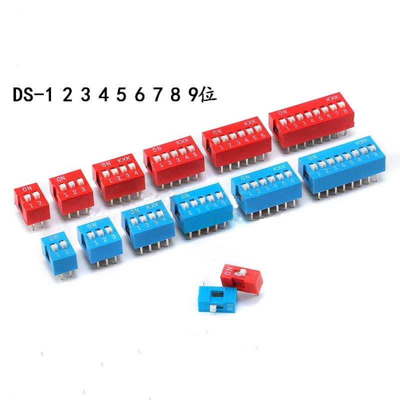 Frete grátis 10pc interruptor de alternância 1 p 2 3 4 5 6 7 8 9 10 vias azul vermelho interruptores pressão interruptor mergulho 2.54mm