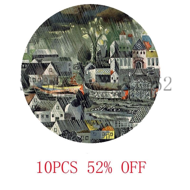 Темно-немецкая Сказочная картина с принтом в виде дождливой деревни ожерелье брелок Закладка Запонки Серьги