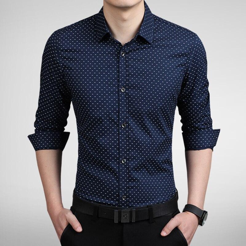 2018 nueva camisa de manga larga de lujo con estilo para hombre con estampado Slim Fit camisa Casual camisas de vestir para hombre 5 colores Talla M-5XL
