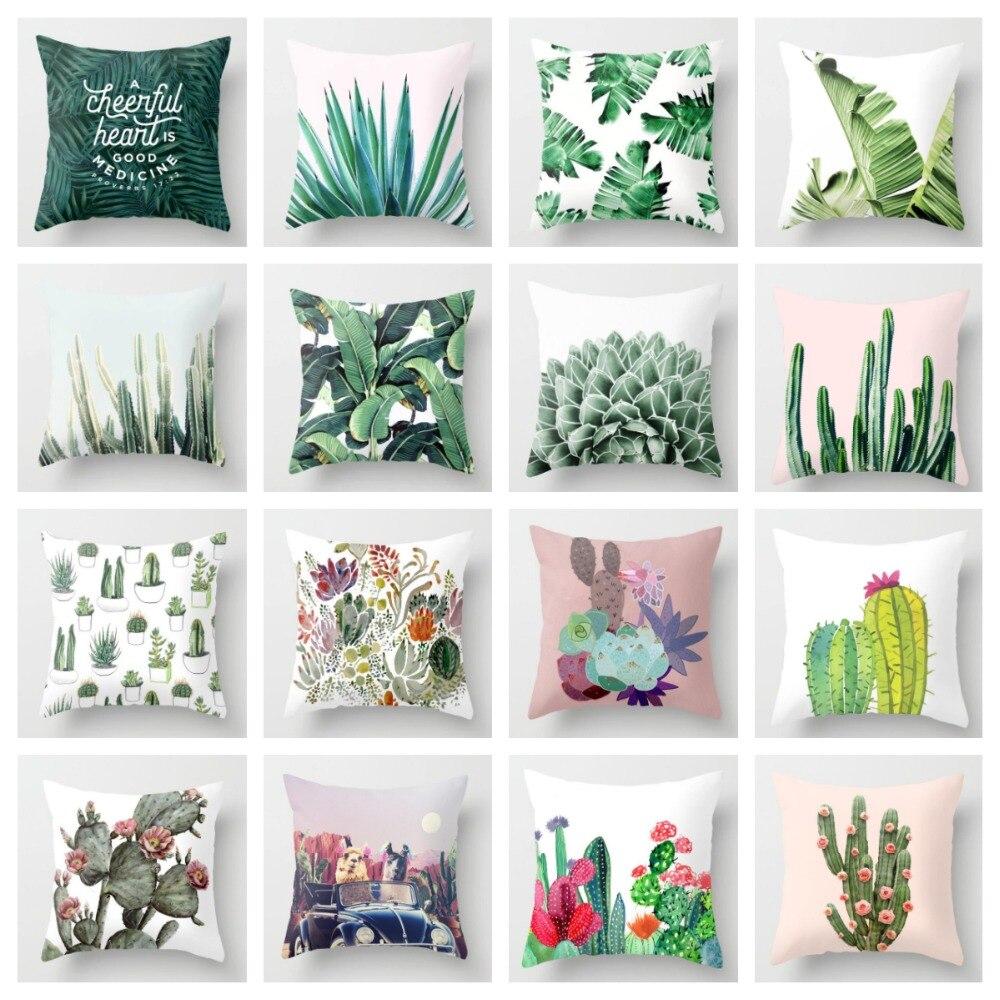 ZENGIA кактус зеленые листья наволочка тропические подушки для растений наволочка для автомобиля дивана дома декоративные