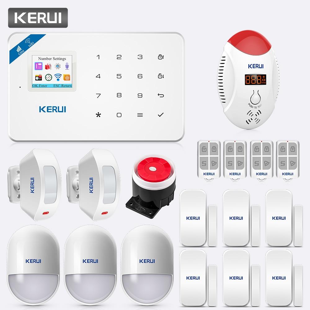 KERUI TFT pantalla a Color W18 sistema de alarma WiFi/GSM aplicación de seguridad para el hogar Control LED pantalla de voz estroboscópico Detector de monóxido de carbono Kit